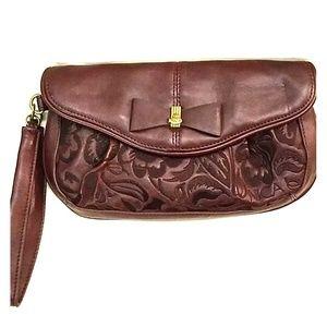 Maroon clutch wristlet purse